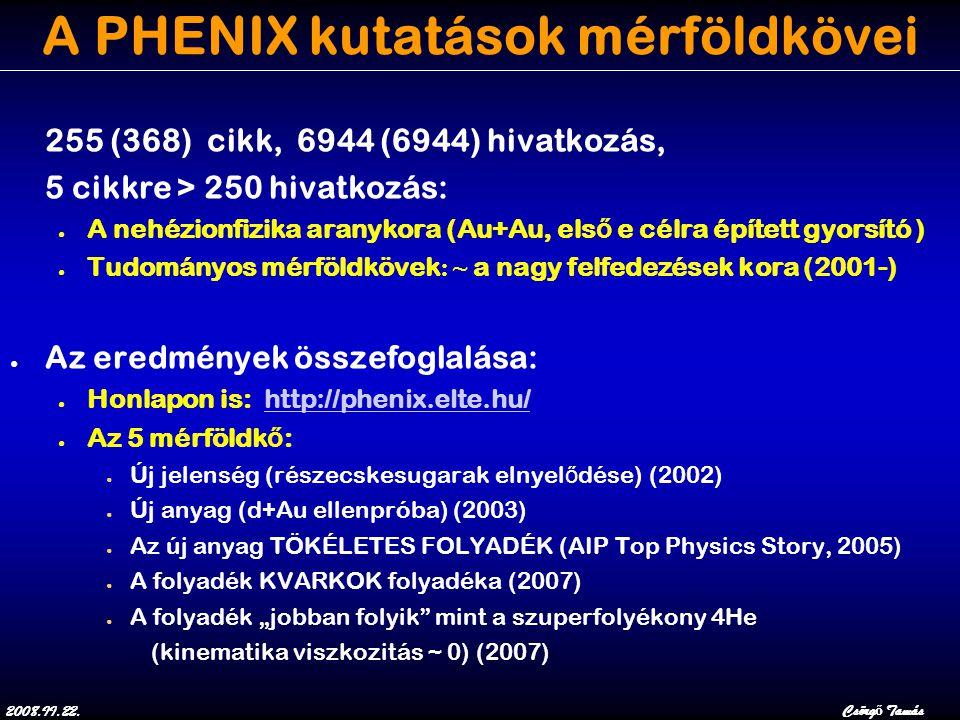 """2008.II.22.Csörg ő Tamás A PHENIX kutatások mérföldkövei 255 (368) cikk, 6944 (6944) hivatkozás, 5 cikkre > 250 hivatkozás: ● A nehézionfizika aranykora (Au+Au, els ő e célra épített gyorsító ) ● Tudományos mérföldkövek : ~ a nagy felfedezések kora (2001-) ● Az eredmények összefoglalása: ● Honlapon is: http://phenix.elte.hu/http://phenix.elte.hu/ ● Az 5 mérföldk ő : ● Új jelenség (részecskesugarak elnyel ő dése) (2002) ● Új anyag (d+Au ellenpróba) (2003) ● Az új anyag TÖKÉLETES FOLYADÉK (AIP Top Physics Story, 2005) ● A folyadék KVARKOK folyadéka (2007) ● A folyadék """"jobban folyik mint a szuperfolyékony 4He (kinematika viszkozitás ~ 0) (2007)"""