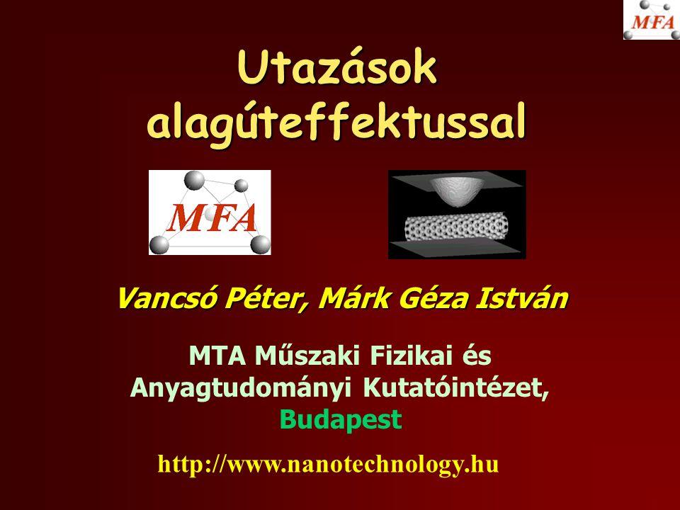 Utazások alagúteffektussal Vancsó Péter, Márk Géza István MTA Műszaki Fizikai és Anyagtudományi Kutatóintézet, Budapest http://www.nanotechnology.hu
