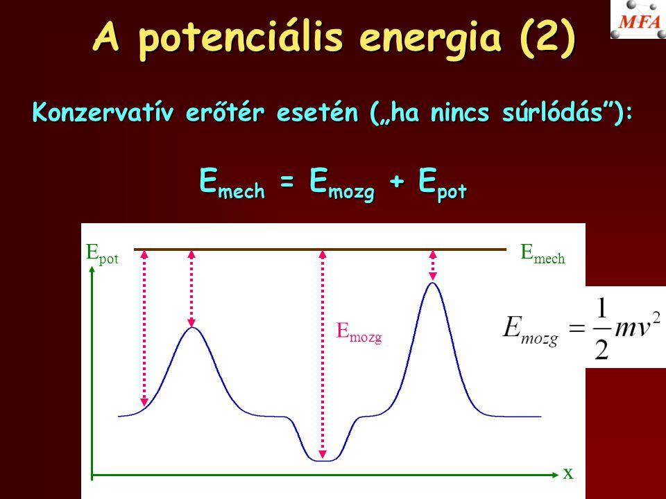 """A potenciális energia (2) Konzervatív erőtér esetén (""""ha nincs súrlódás""""): E mech = E mozg + E pot x E pot E mech E mozg"""