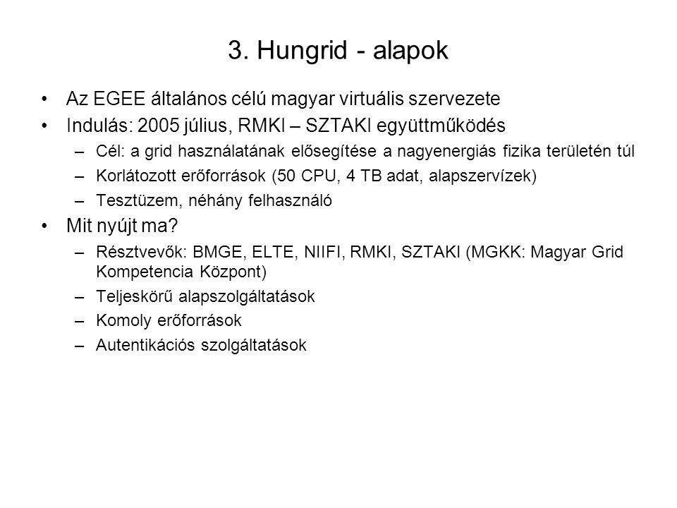3. Hungrid - alapok Az EGEE általános célú magyar virtuális szervezete Indulás: 2005 július, RMKI – SZTAKI együttműködés –Cél: a grid használatának el