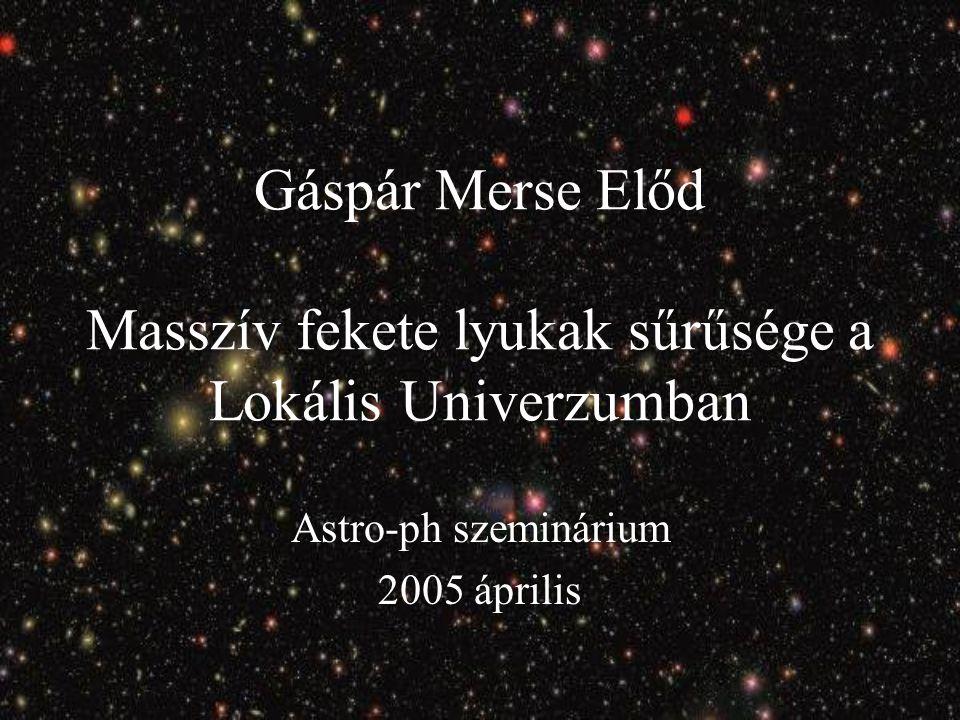 Gáspár Merse Előd Masszív fekete lyukak sűrűsége a Lokális Univerzumban Astro-ph szeminárium 2005 április