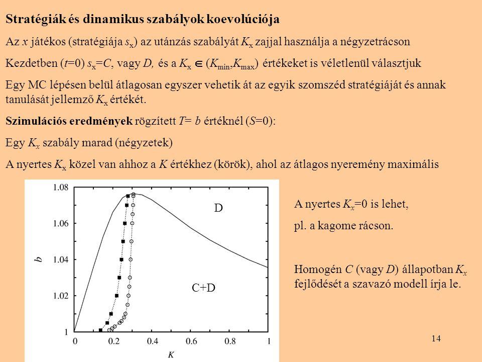 14 Stratégiák és dinamikus szabályok koevolúciója Az x játékos (stratégiája s x ) az utánzás szabályát K x zajjal használja a négyzetrácson Kezdetben