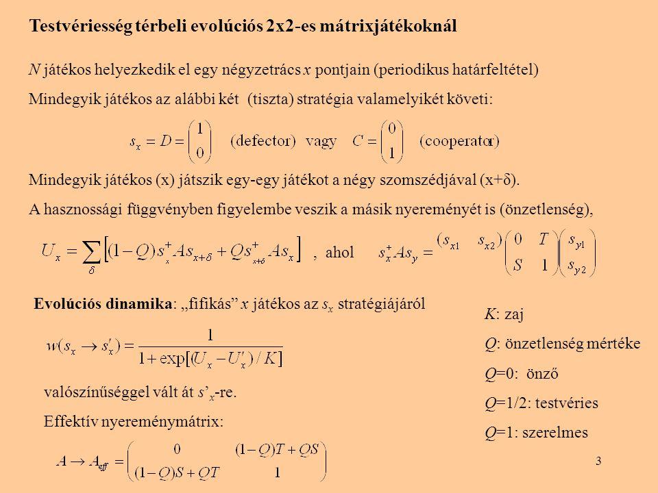 3 Testvériesség térbeli evolúciós 2x2-es mátrixjátékoknál N játékos helyezkedik el egy négyzetrács x pontjain (periodikus határfeltétel) Mindegyik ját