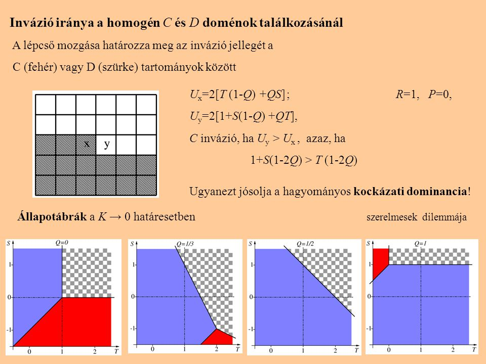 6 Invázió iránya a homogén C és D doménok találkozásánál A lépcső mozgása határozza meg az invázió jellegét a C (fehér) vagy D (szürke) tartományok kö