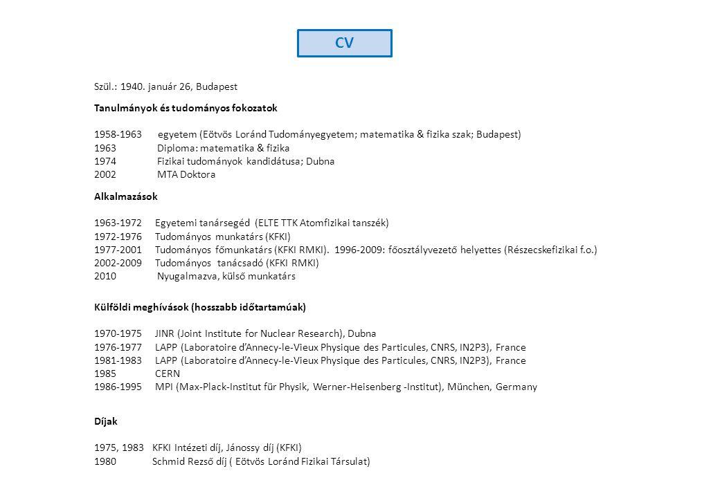 Szül.: 1940. január 26, Budapest Tanulmányok és tudományos fokozatok 1958-1963 egyetem (Eötvös Loránd Tudományegyetem; matematika & fizika szak; Budap