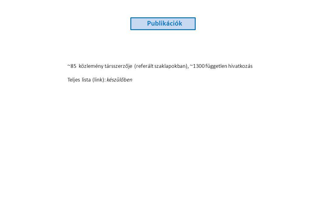 Publikációk ~85 közlemény társszerzője (referált szaklapokban), ~1300 független hivatkozás Teljes lista (link): készülőben