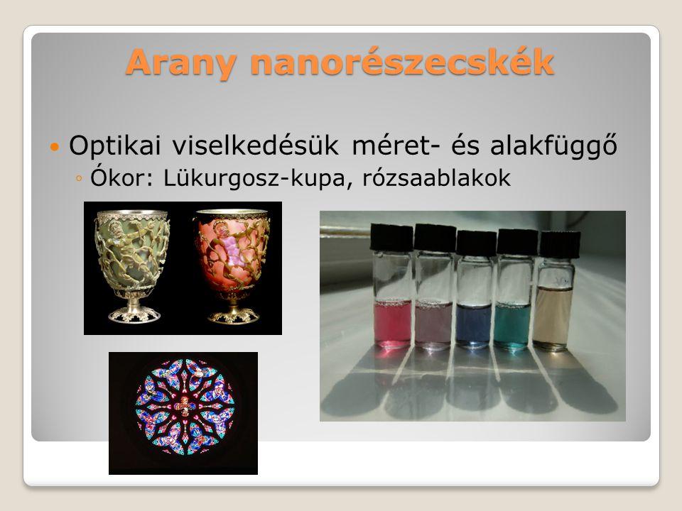 Arany nanorészecskék Optikai viselkedésük méret- és alakfüggő ◦Ókor: Lükurgosz-kupa, rózsaablakok