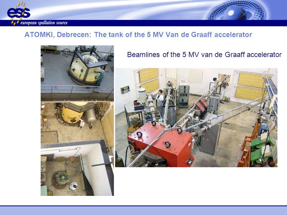 ATOMKI, Debrecen: The tank of the 5 MV Van de Graaff accelerator Beamlines of the 5 MV van de Graaff accelerator