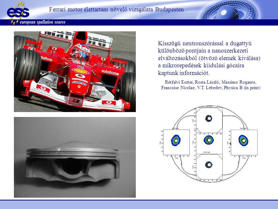 Ferrari motor élettartam növelő vizsgálata Budapesten Kisszögű neutronszórással a dugattyú különböző pontjain a nanoszerkezeti elváltozásokból (ötvöző