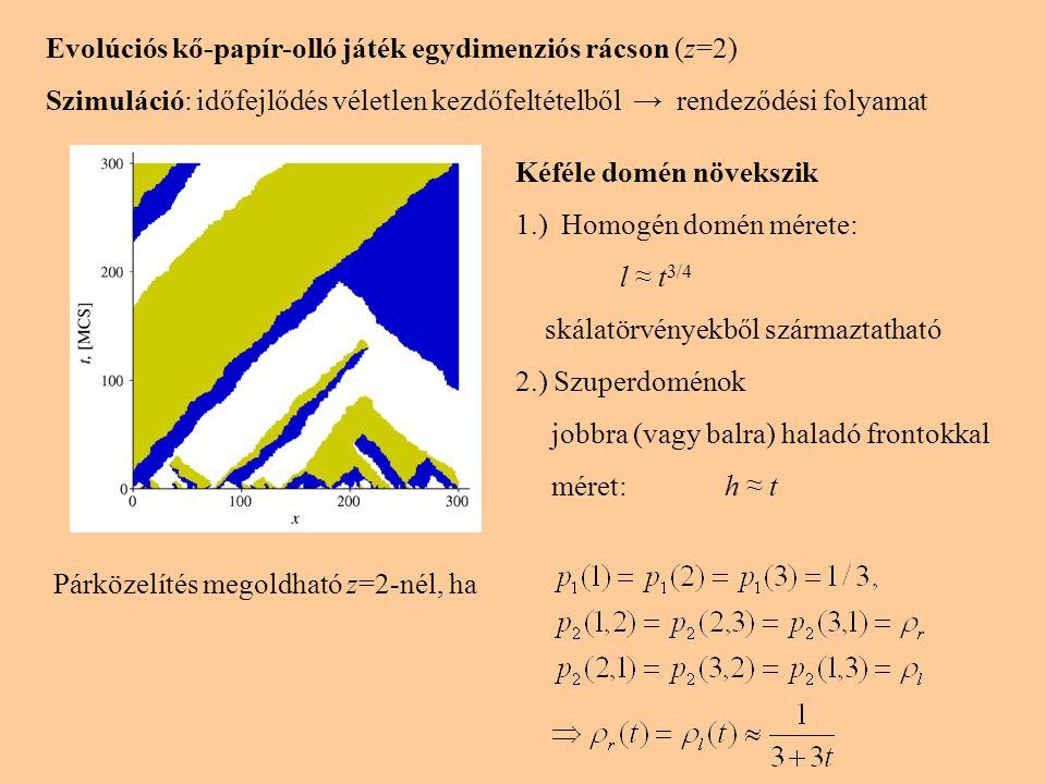 Evolúciós kő-papír-olló játék egydimenziós rácson (z=2) Szimuláció: időfejlődés véletlen kezdőfeltételből → rendeződési folyamat Kéféle domén növekszi