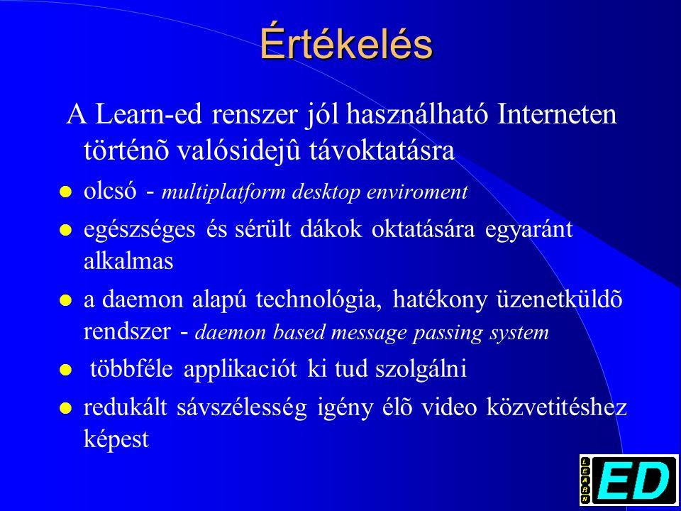 Értékelés A Learn-ed renszer jól használható Interneten történõ valósidejû távoktatásra l olcsó - multiplatform desktop enviroment l egészséges és sérült dákok oktatására egyaránt alkalmas l a daemon alapú technológia, hatékony üzenetküldõ rendszer - daemon based message passing system l többféle applikaciót ki tud szolgálni l redukált sávszélesség igény élõ video közvetitéshez képest