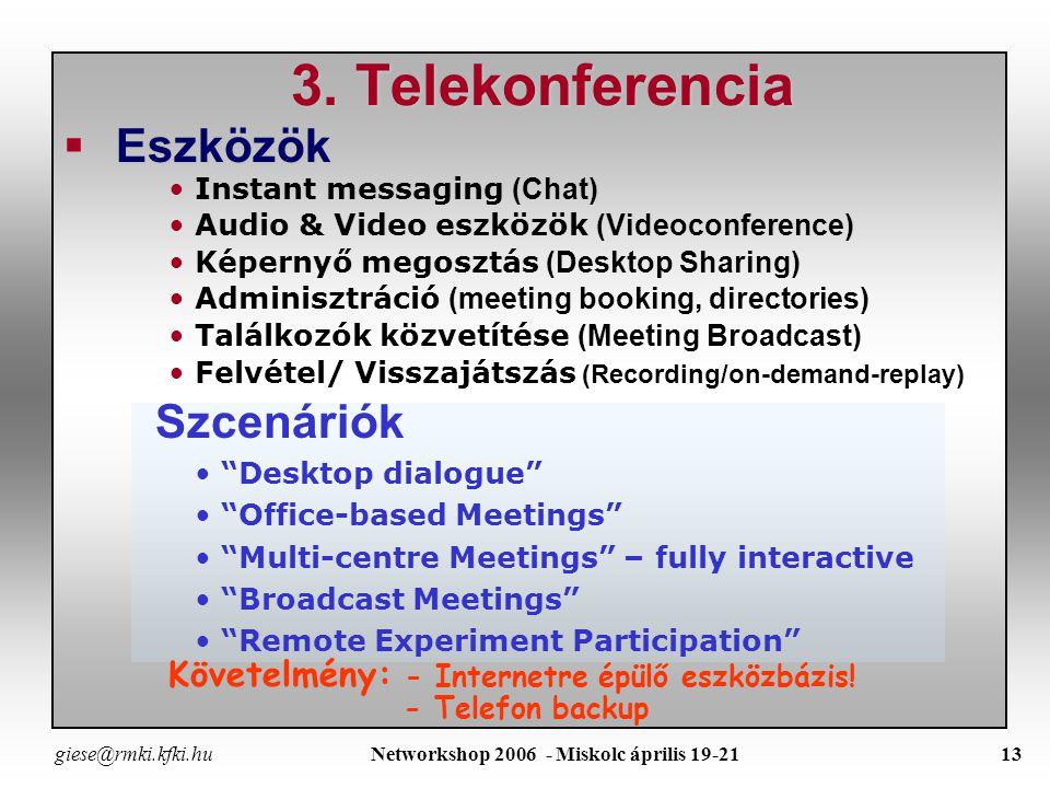 giese@rmki.kfki.hu Networkshop 2006 - Miskolc április 19-2112 R emote D ata A ccess / R emote C omputer A ccess Státusz (felmérés - 36 EFDA lab) –Az összes EFDA lab (~a kutatók fele) részt vesz a JET kisérletekben –Legtöbb lab használ RCA-t más laboratóriumhoz is –A legtöbb lab.-nál van tűzfal és engedélyezik az RCA-t, de különböző módszert alkalmaznak : »SSH(15 lab) »Citrix (5 lab) »SecurID token cards (3 labs) »One-time passwords (1 lab) Aggályok –SSH » a forgalom nem monitorozható, a jogosultság nem ellenőrizhető –SecurID & Citrix: »Drága (SecurID cards, license, plusz Citrix server licenses) »Tőbb felhasználó kényelmetlennek tartja – túl bonyolult Lehetséges megoldások –SecurID-vel hitelesített VNC session (közvetlen remote login a UNIX/LINUX rendszerekbe) –SecurID-vel hitelesített SSH access –Közös SecurID server (Prototype at JET and RFX.) –Virtual Private Network (VPN) - lehetővé teszi a forgalom monitorozását