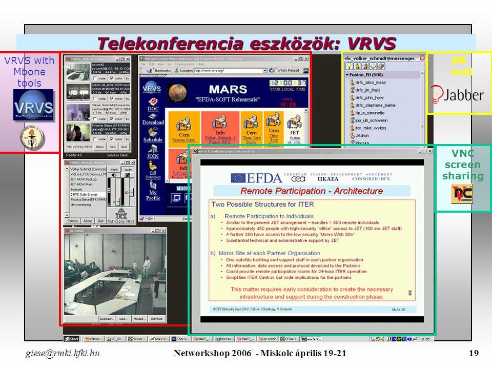 giese@rmki.kfki.hu Networkshop 2006 - Miskolc április 19-2118 –JTV csatornái: 5 telekonferenciához dedikált csatorna plus: 13 a lövésekhez rendelt csatorna 1 lassú, kis felbontású vezérlő termi web-cam csatorna 1 az adatkiértékelő cluster terhelését kijelző csatorna –JTV csatornái: 5 telekonferenciához dedikált csatorna plus: 13 a lövésekhez rendelt csatorna 1 lassú, kis felbontású vezérlő termi web-cam csatorna 1 az adatkiértékelő cluster terhelését kijelző csatorna