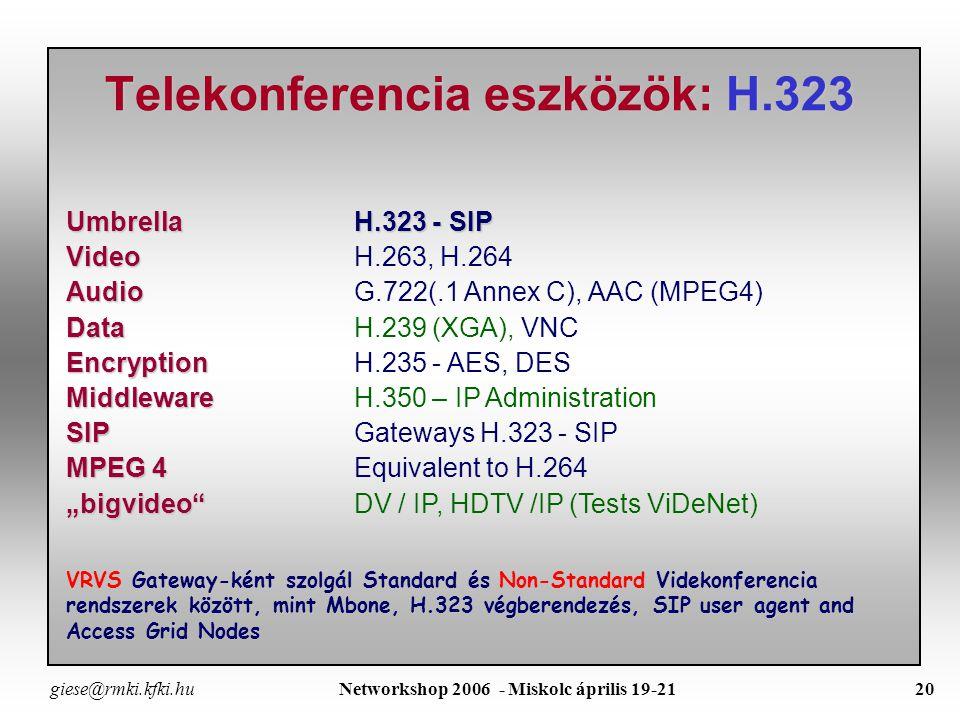 giese@rmki.kfki.hu Networkshop 2006 - Miskolc április 19-2119 Telekonferencia eszközök: VRVS VRVS with Mbone tools IM tool VNC screen sharing