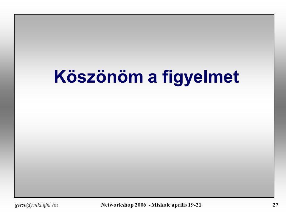 giese@rmki.kfki.hu Networkshop 2006 - Miskolc április 19-2126 Ősszefoglalás – Általános Javaslatok  EFDA laboratóriumok jövőbeli RP tevékenysége EFDA RPTC meg kell tartani Különös figyelmet kell fordítani a kisebb laboratóriumokra A távegyüttműködés jelenlegi, önkéntes alapon történő szervése nem túl effektív feladatorientált megbízás egy adott laboratórium számára ki kell dolgozni az EFDA számára nyújtott szolgáltatás finanszírozását  ITER meghatározó lesz a távegyüttműködésre – de-facto standard EFDA és ITER kapcsolatot definiálni kell RP aspektus a meglévő CCDA (Computing, Control and Data Acquisiton) infrastruktúrához igazodott – ITER esetén kezdettől figyelmbe kell venni a Távegyüttműködés lehetőségét ITER követelmény standard megoldások alkalmazása Világméretű telekommunikáció szerződéses szolgáltatások Visszahat az EFDA RP-re ITER RP prototípus kidolgozása meglévő kisérletnél