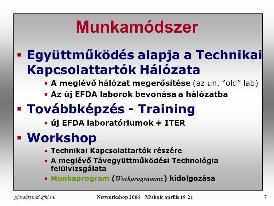 giese@rmki.kfki.hu Networkshop 2006 - Miskolc április 19-216 Ki mit tesz az EFDA RP-ben .