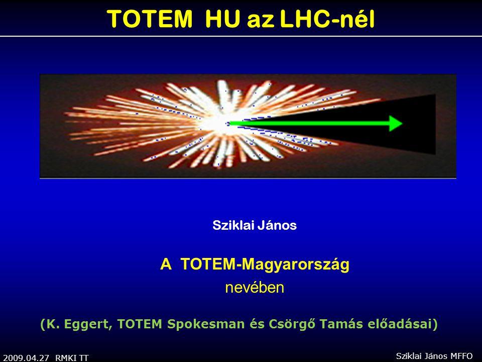 2009.04.27 RMKI TT Sziklai János MFFO TOTEM HU az LHC-nél Sziklai János A TOTEM-Magyarország nevében (K. Eggert, TOTEM Spokesman és Csörgő Tamás előad