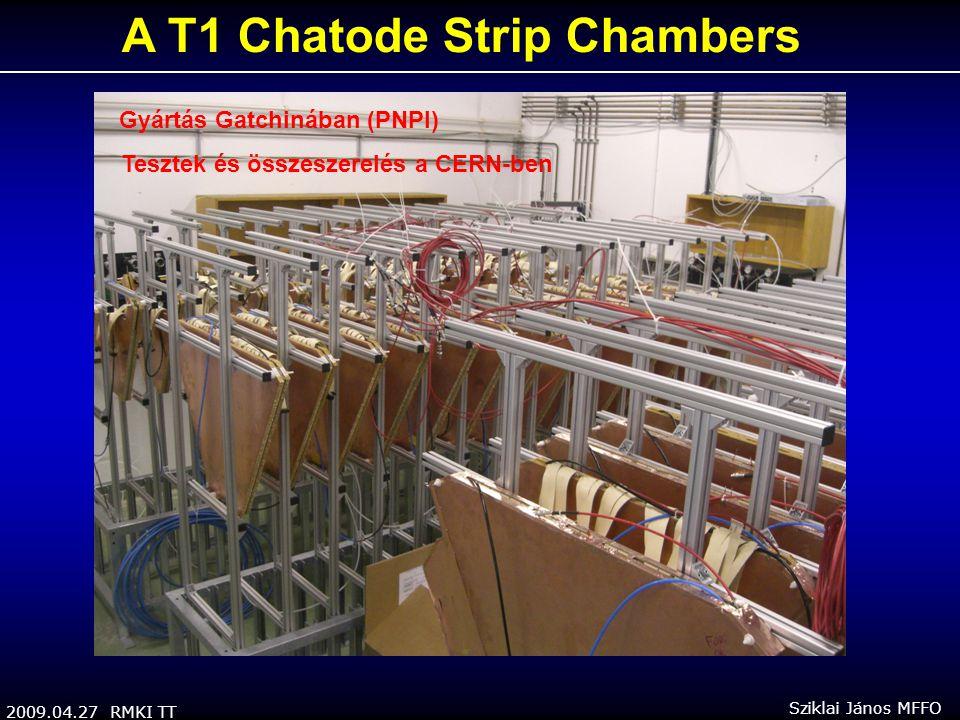 2009.04.27 RMKI TT Sziklai János MFFO A T1 Chatode Strip Chambers Gyártás Gatchinában (PNPI) Tesztek és összeszerelés a CERN-ben
