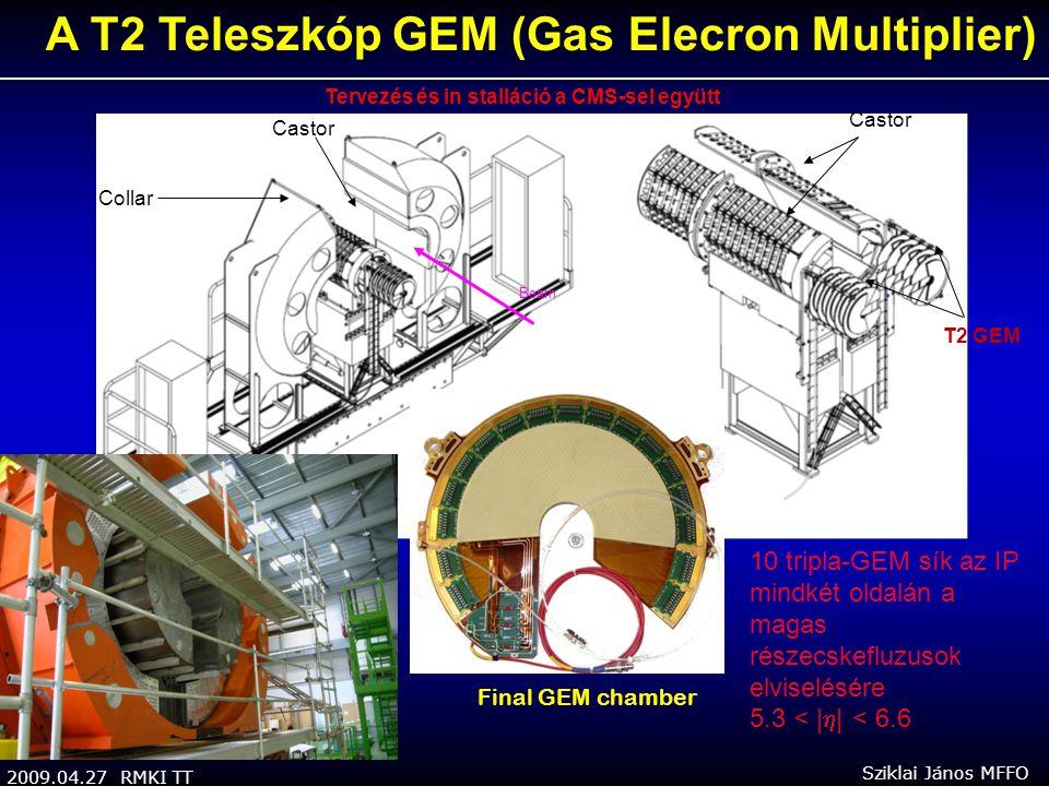 2009.04.27 RMKI TT Sziklai János MFFO A T2 Teleszkóp GEM (Gas Elecron Multiplier) Castor Collar Castor T2 GEM 10 tripla-GEM sík az IP mindkét oldalán a magas részecskefluzusok elviselésére 5.3 < |  | < 6.6 Tervezés és in stalláció a CMS-sel együtt Final GEM chamber Beam