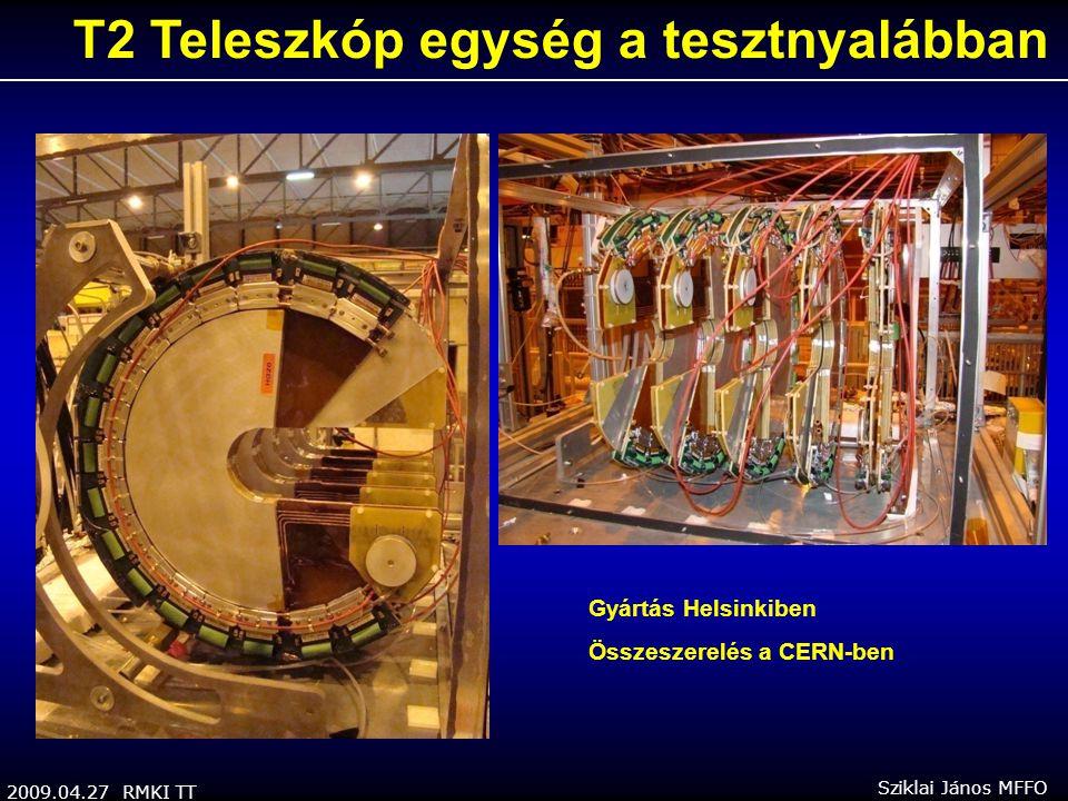 2009.04.27 RMKI TT Sziklai János MFFO T2 Teleszkóp egység a tesztnyalábban Gyártás Helsinkiben Összeszerelés a CERN-ben