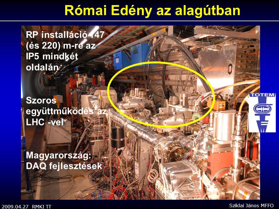 2009.04.27 RMKI TT Sziklai János MFFO RP installáció 147 (és 220) m-re az IP5 mindkét oldalán Szoros együttműködés az LHC -vel Magyarország: DAQ fejlesztések Római Edény az alagútban