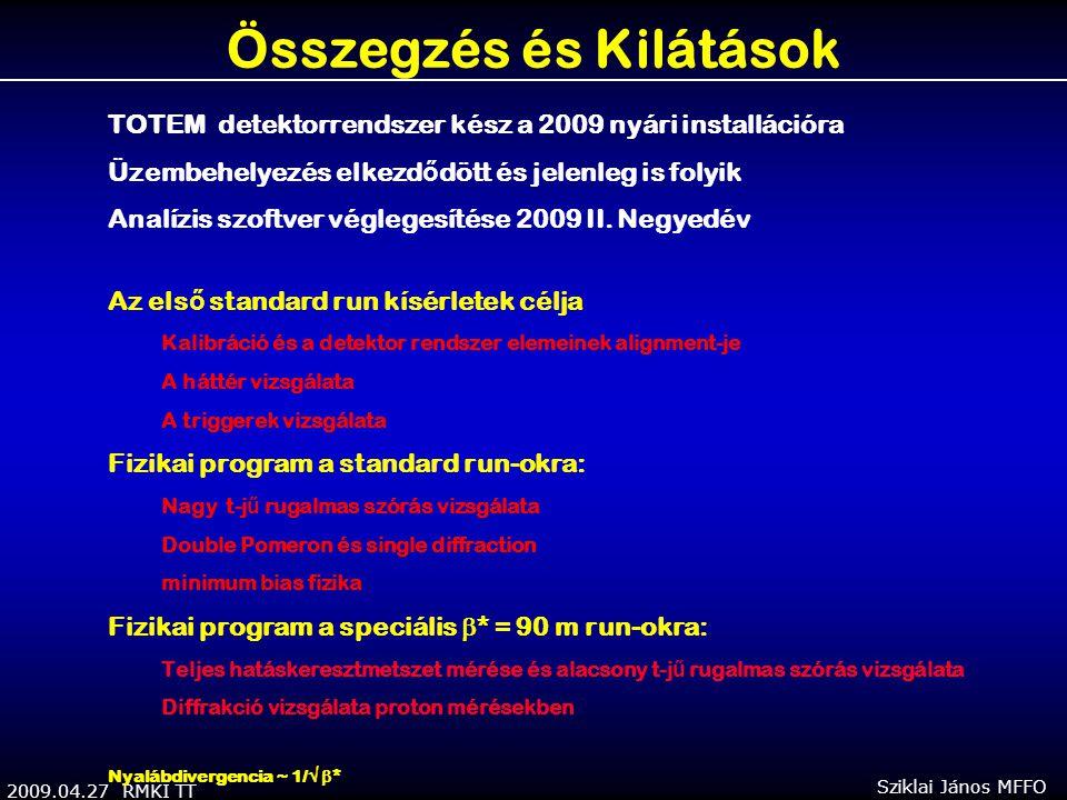 2009.04.27 RMKI TT Sziklai János MFFO Összegzés és Kilátások TOTEM detektorrendszer kész a 2009 nyári installációra Üzembehelyezés elkezd ő dött és jelenleg is folyik Analízis szoftver véglegesítése 2009 II.