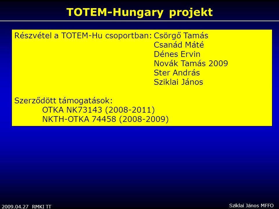 2009.04.27 RMKI TT Sziklai János MFFO TOTEM-Hungary projekt Részvétel a TOTEM-Hu csoportban:Csörgő Tamás Csanád Máté Dénes Ervin Novák Tamás 2009 Ster