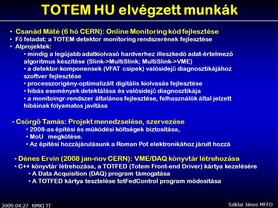 2009.04.27 RMKI TT Sziklai János MFFO TOTEM HU elvégzett munkák Csanád Máté (6 hó CERN): Online Monitoring kód fejlesztése F ő feladat: a TOTEM detektor monitoring rendszerének fejlesztése Alprojektek: mindig a legújabb adatkiolvasó hardverhez illeszkedõ adat-értelmezõ algoritmus készítése (Slink->MultiSlink; MultiSlink->VME) a detektor-komponensek (VFAT csipek) valósidej ű diagnosztikájához szoftver fejlesztése processzorigény-optimalizált digitális kiolvasás fejlesztése hibás események detektálása és valósidej ű diagnosztikája a monitoingr-rendszer általános fejlesztése, felhasználók által jelzett hibáinak folyamatos javítása Csörgõ Tamás: Projekt menedzselése, szervezése 2008-as építési és mûködési költségek biztosítása, MoU megkötése.