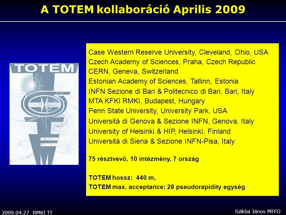 2009.04.27 RMKI TT Sziklai János MFFO A TOTEM kollaboráció Aprilis 2009 Case Western Reserve University, Cleveland, Ohio, USA Czech Academy of Science