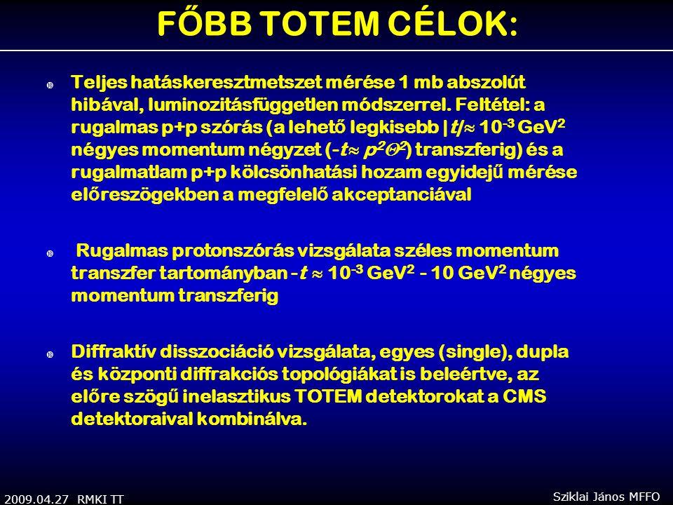 2009.04.27 RMKI TT Sziklai János MFFO F Ő BB TOTEM CÉLOK:  Teljes hatáskeresztmetszet mérése 1 mb abszolút hibával, luminozitásfüggetlen módszerrel.