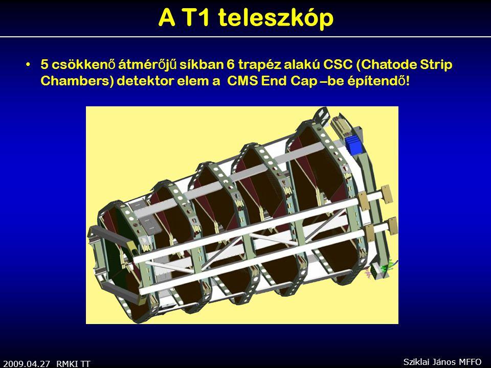 2009.04.27 RMKI TT Sziklai János MFFO A T1 teleszkóp 5 csökken ő átmér ő j ű síkban 6 trapéz alakú CSC (Chatode Strip Chambers) detektor elem a CMS End Cap –be építend ő !