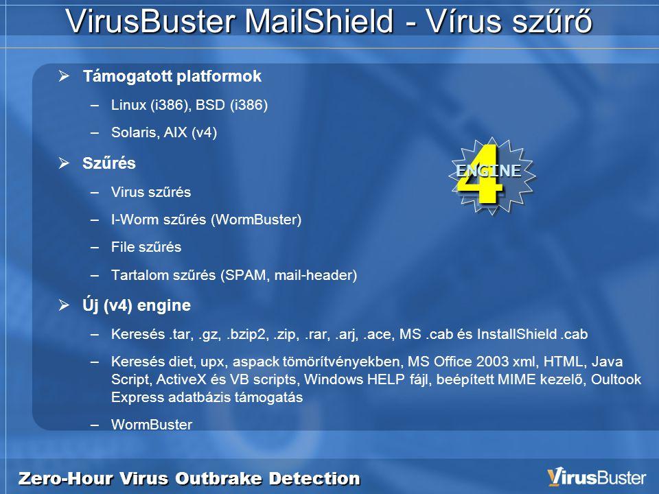 Zero-Hour Virus Outbrake Detection VirusBuster MailShield - Vírus szűrő  Támogatott platformok –Linux (i386), BSD (i386) –Solaris, AIX (v4)  Szűrés –Virus szűrés –I-Worm szűrés (WormBuster) –File szűrés –Tartalom szűrés (SPAM, mail-header)  Új (v4) engine –Keresés.tar,.gz,.bzip2,.zip,.rar,.arj,.ace, MS.cab és InstallShield.cab –Keresés diet, upx, aspack tömörítvényekben, MS Office 2003 xml, HTML, Java Script, ActiveX és VB scripts, Windows HELP fájl, beépített MIME kezelő, Oultook Express adatbázis támogatás –WormBuster4ENGINE