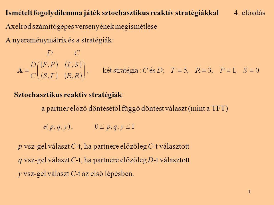 1 Ismételt fogolydilemma játék sztochasztikus reaktív stratégiákkal 4.