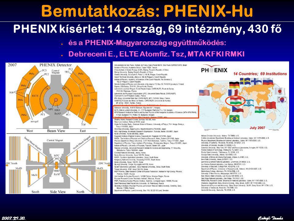 2007.XI.30.Csörg ő Tamás Bemutatkozás: PHENIX-Hu PHENIX kísérlet: 14 ország, 69 intézmény, 430 f ő ● és a PHENIX-Magyarország együttm ű ködés: ● Debreceni E., ELTE Atomfiz.