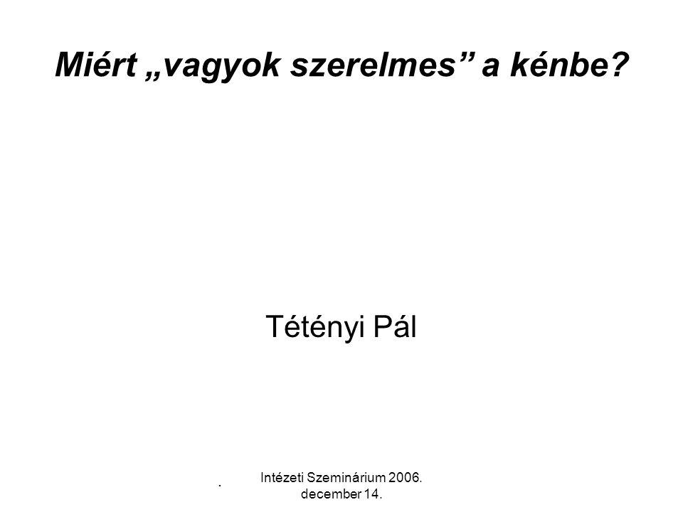 Intézeti Szeminárium 2006.december 14.
