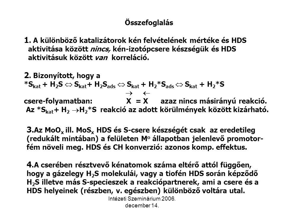 Intézeti Szeminárium 2006. december 14. Összefoglalás 1.