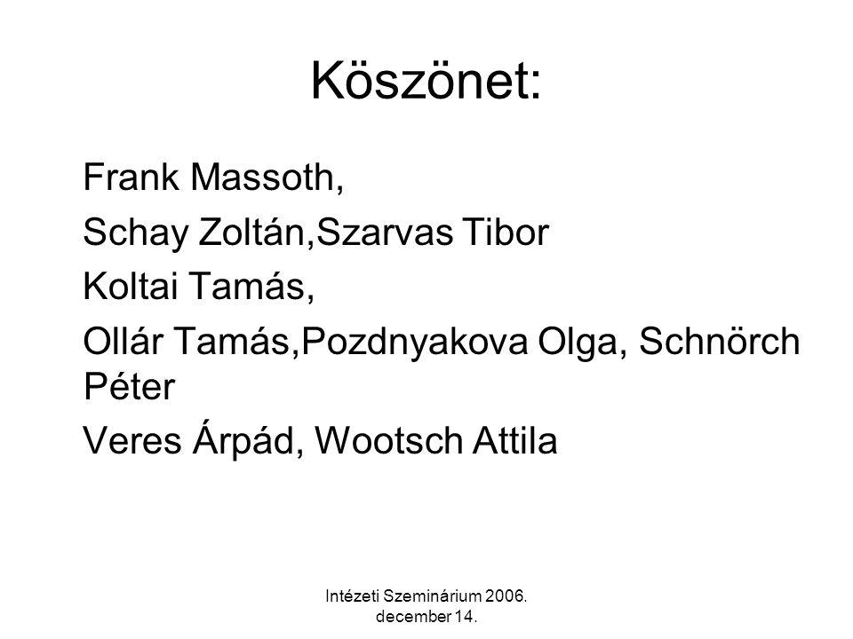 Intézeti Szeminárium 2006. december 14.