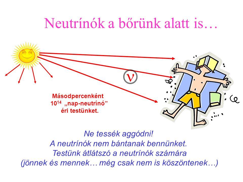 """Elektron, proton és a neutron """"csak ritkaságok""""! Ezek mindegyikére 1 milliárd neutrínó jut az Univerzumban.     1 cm Az űr min"""