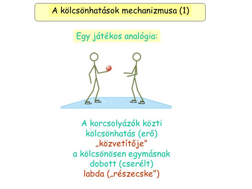 """Egy játékos analógia: A kölcsönhatások mechanizmusa (1) A korcsolyázók közti kölcsönhatás (erő) """"közvetítője a kölcsönösen egymásnak dobott (cserélt) labda (""""részecske )"""