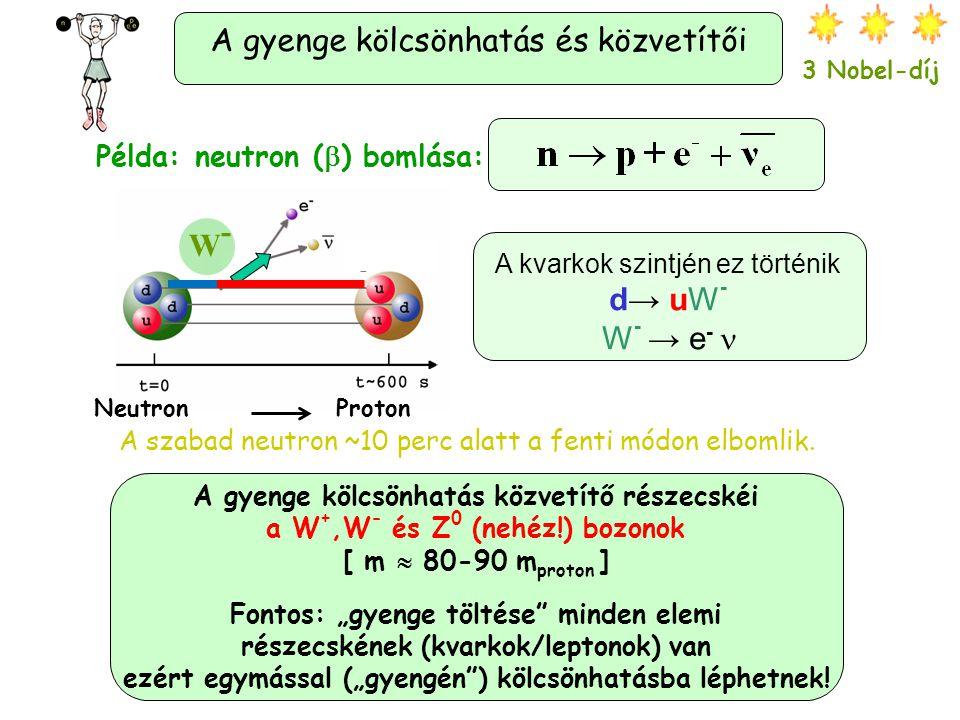 """A gyenge kölcsönhatás és közvetítői 3 Nobel-díj Példa: neutron (  ) bomlása: A gyenge kölcsönhatás közvetítő részecskéi a W +,W - és Z 0 (nehéz!) bozonok [ m  80-90 m proton ] Fontos: """"gyenge töltése minden elemi részecskének (kvarkok/leptonok) van ezért egymással (""""gyengén ) kölcsönhatásba léphetnek."""