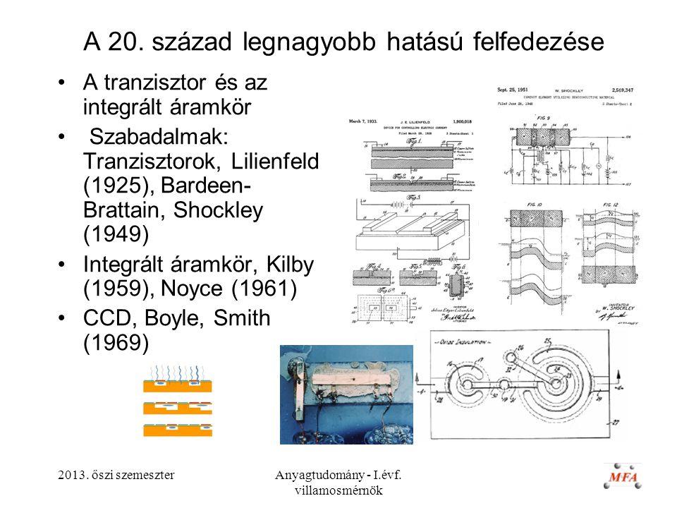 2013. őszi szemeszterAnyagtudomány - I.évf. villamosmérnök A 20. század legnagyobb hatású felfedezése A tranzisztor és az integrált áramkör Szabadalma