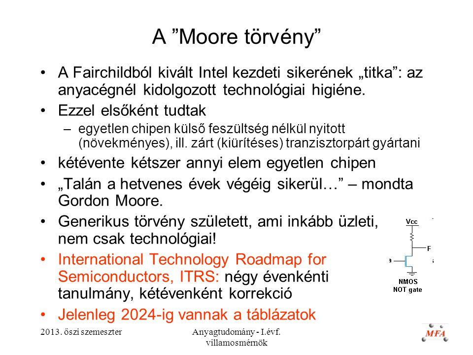 """2013. őszi szemeszterAnyagtudomány - I.évf. villamosmérnök A """"Moore törvény"""" A Fairchildból kivált Intel kezdeti sikerének """"titka"""": az anyacégnél kido"""