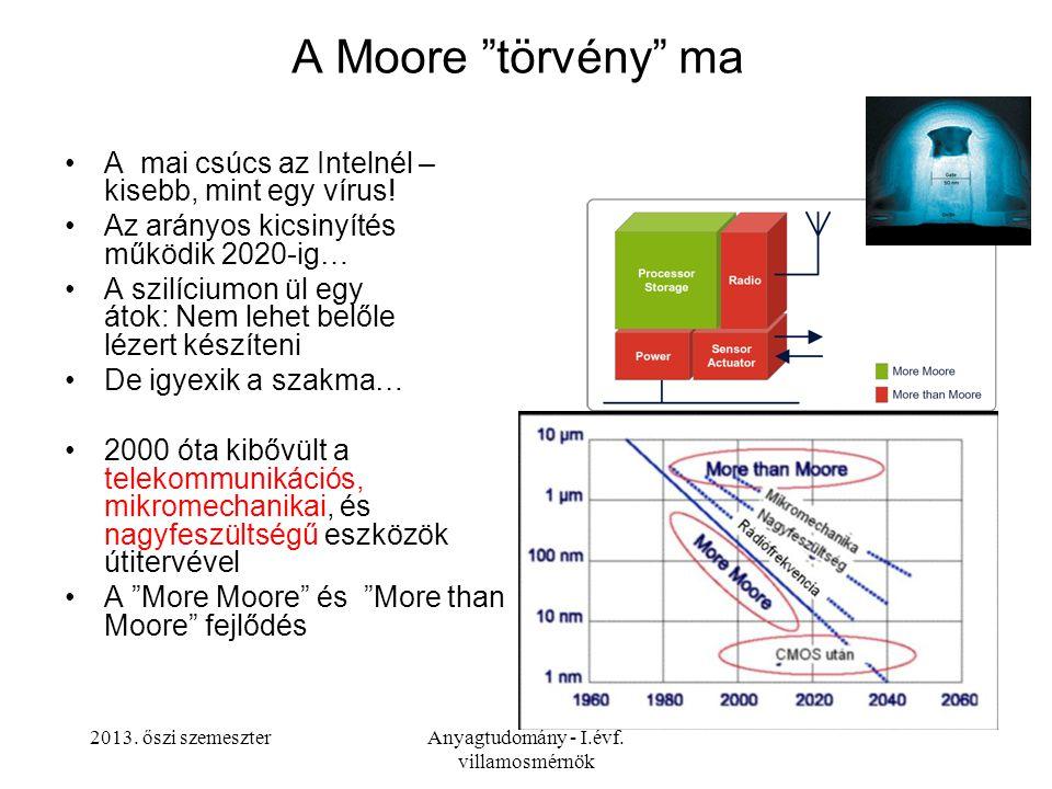 """2013. őszi szemeszterAnyagtudomány - I.évf. villamosmérnök A Moore """"törvény"""" ma A mai csúcs az Intelnél – kisebb, mint egy vírus! Az arányos kicsinyít"""