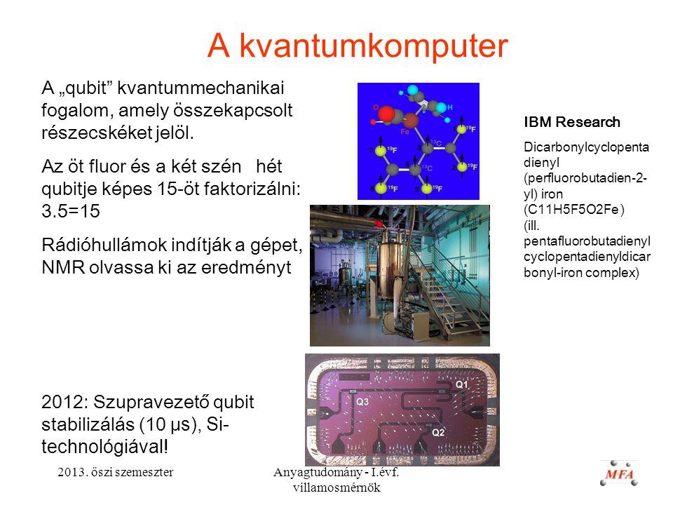 """2013. őszi szemeszterAnyagtudomány - I.évf. villamosmérnök A kvantumkomputer A """"qubit"""" kvantummechanikai fogalom, amely összekapcsolt részecskéket jel"""