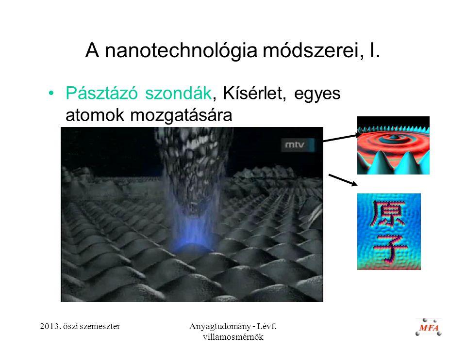 2013. őszi szemeszterAnyagtudomány - I.évf. villamosmérnök A nanotechnológia módszerei, I. Pásztázó szondák, Kísérlet, egyes atomok mozgatására