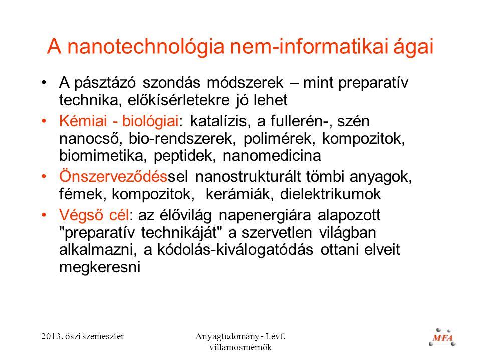 2013. őszi szemeszterAnyagtudomány - I.évf. villamosmérnök A nanotechnológia nem-informatikai ágai A pásztázó szondás módszerek – mint preparatív tech