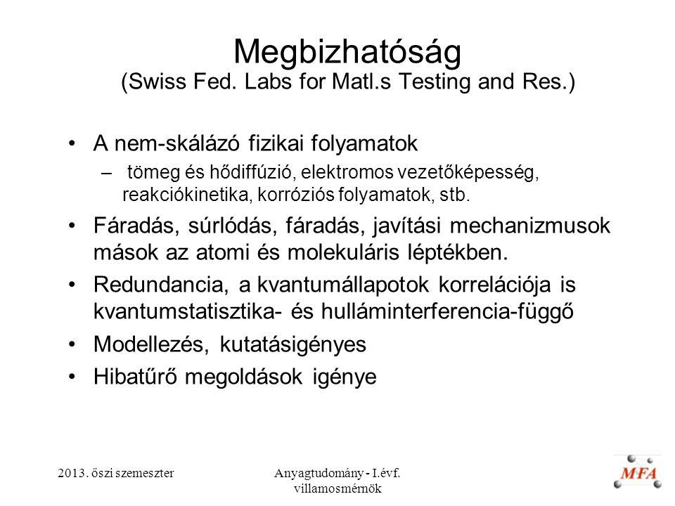 2013. őszi szemeszterAnyagtudomány - I.évf. villamosmérnök Megbizhatóság (Swiss Fed. Labs for Matl.s Testing and Res.) A nem-skálázó fizikai folyamato