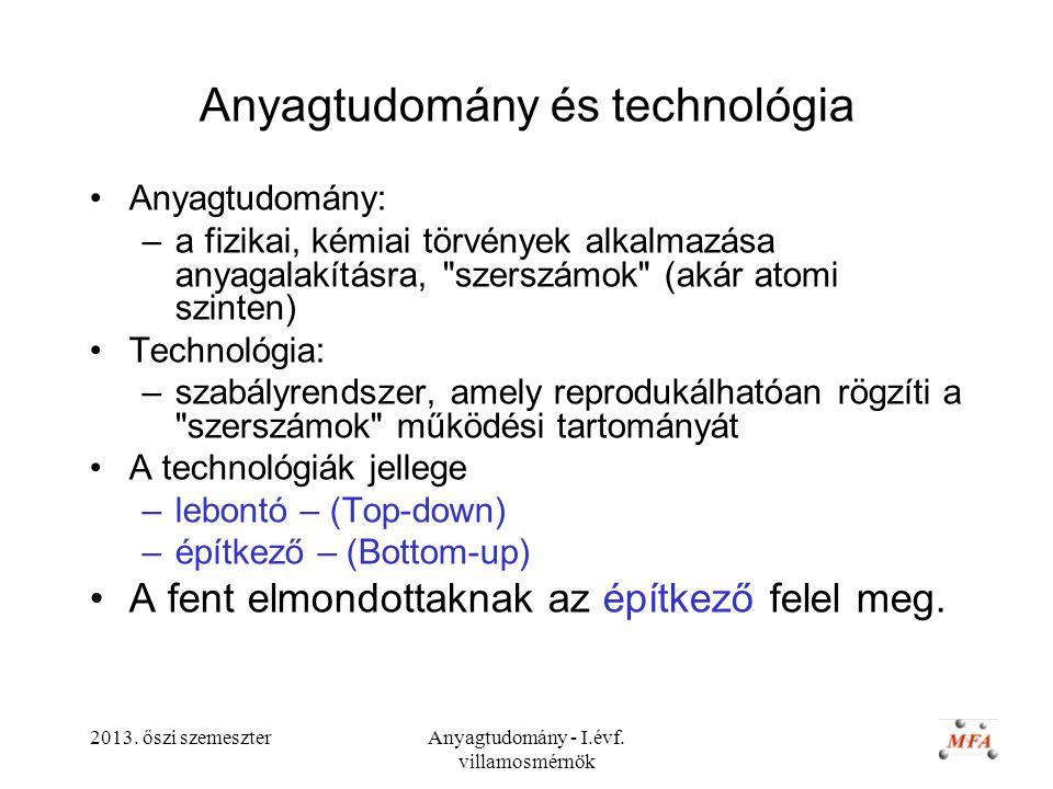 2013. őszi szemeszterAnyagtudomány - I.évf. villamosmérnök Anyagtudomány és technológia Anyagtudomány: –a fizikai, kémiai törvények alkalmazása anyaga