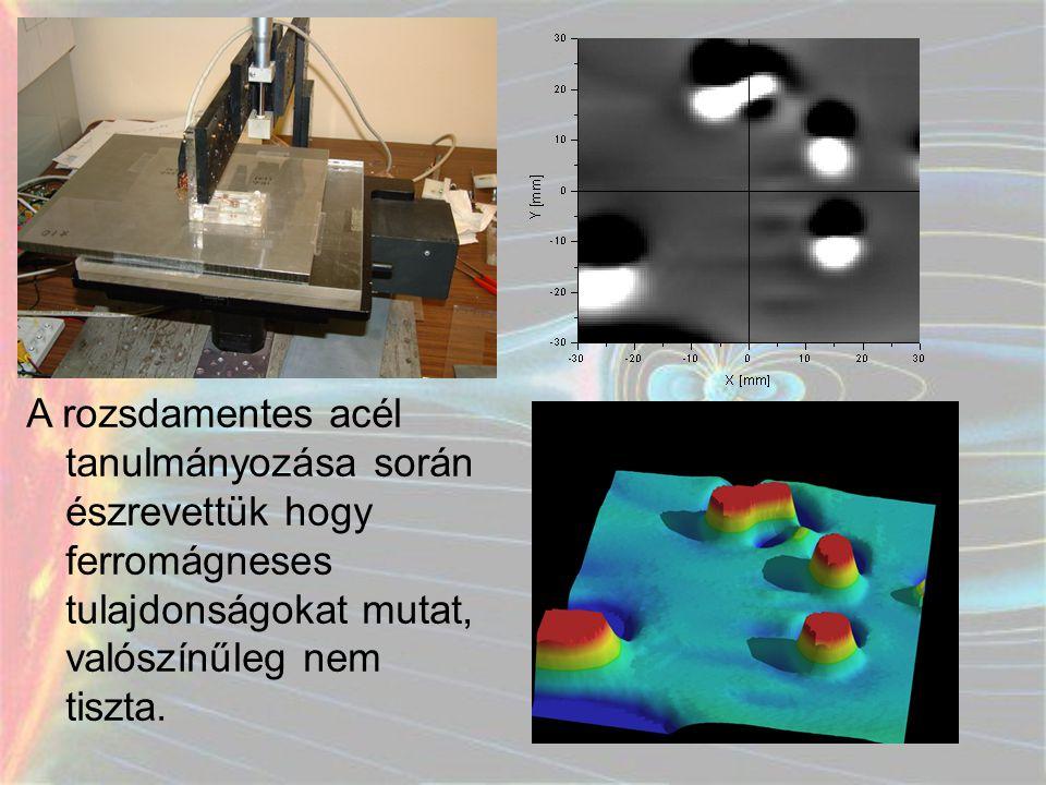 A rozsdamentes acél tanulmányozása során észrevettük hogy ferromágneses tulajdonságokat mutat, valószínűleg nem tiszta.
