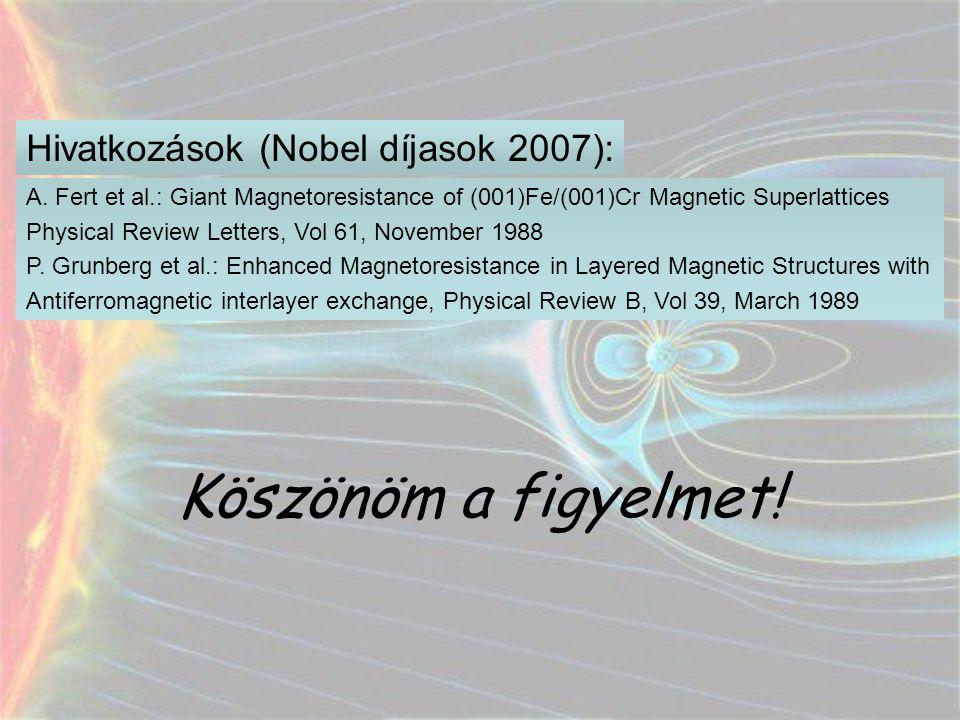 Köszönöm a figyelmet! A. Fert et al.: Giant Magnetoresistance of (001)Fe/(001)Cr Magnetic Superlattices Physical Review Letters, Vol 61, November 1988
